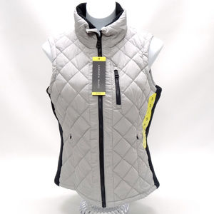 Andrew Marc Quilted Silver Vest